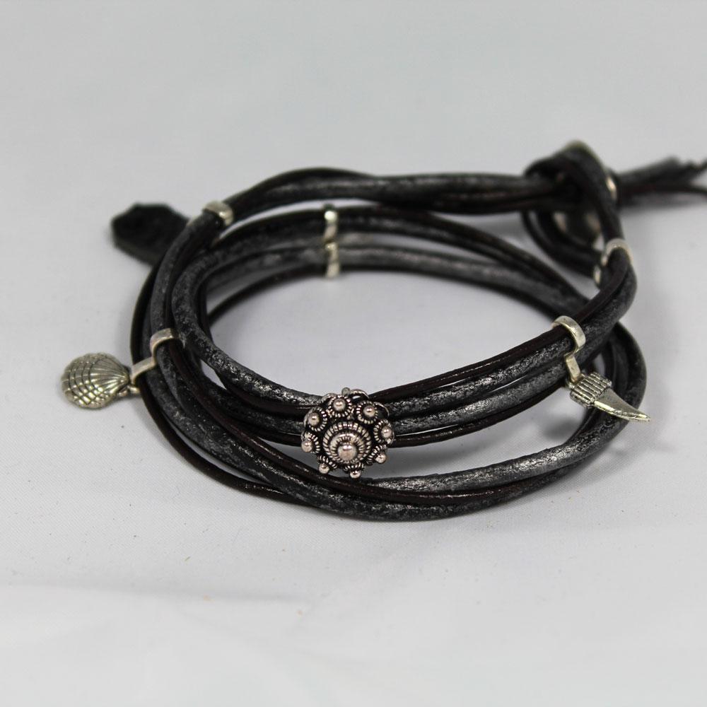 armband zeeuwse knoop leer zwart
