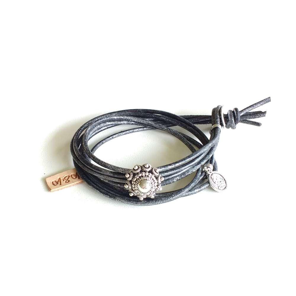 armband zeeuwse knoop leer dik zwart