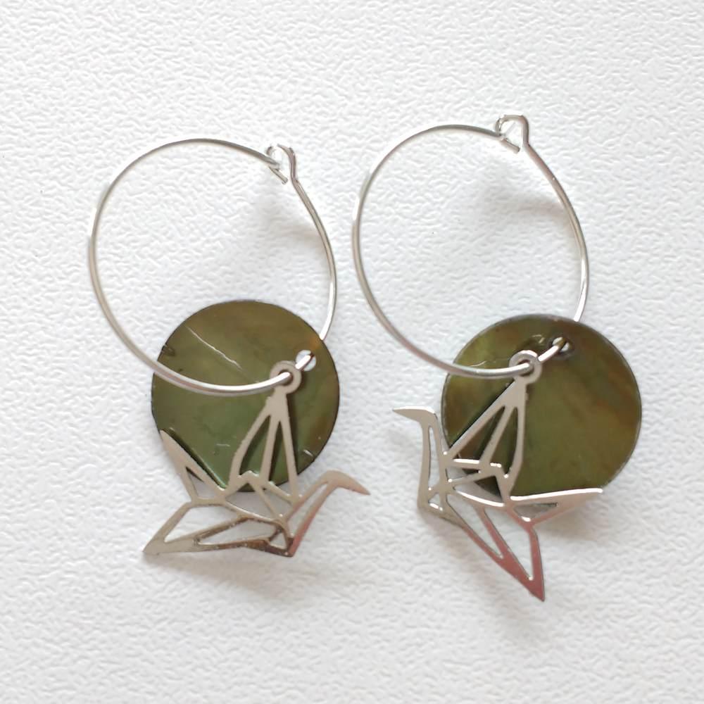 oorbellen creolen verzilverd kraanvogel groen