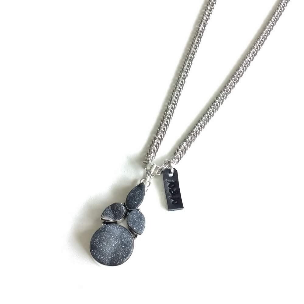 ketting edelsteen grijs zilver
