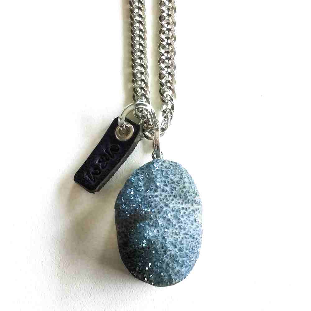 ketting zilver agaat metallic titanium blauw