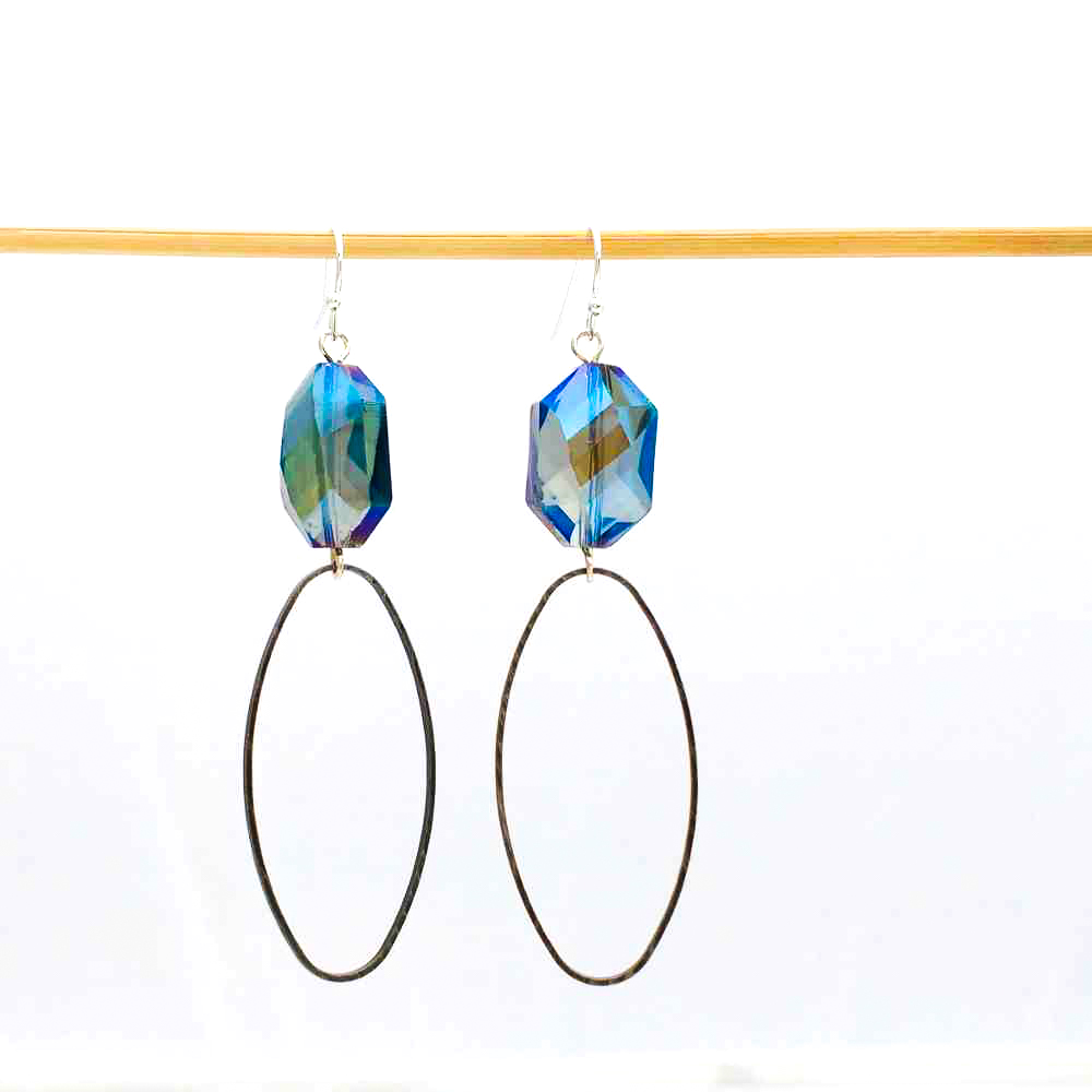 oorbellen bohemian blauw kristal ovaal
