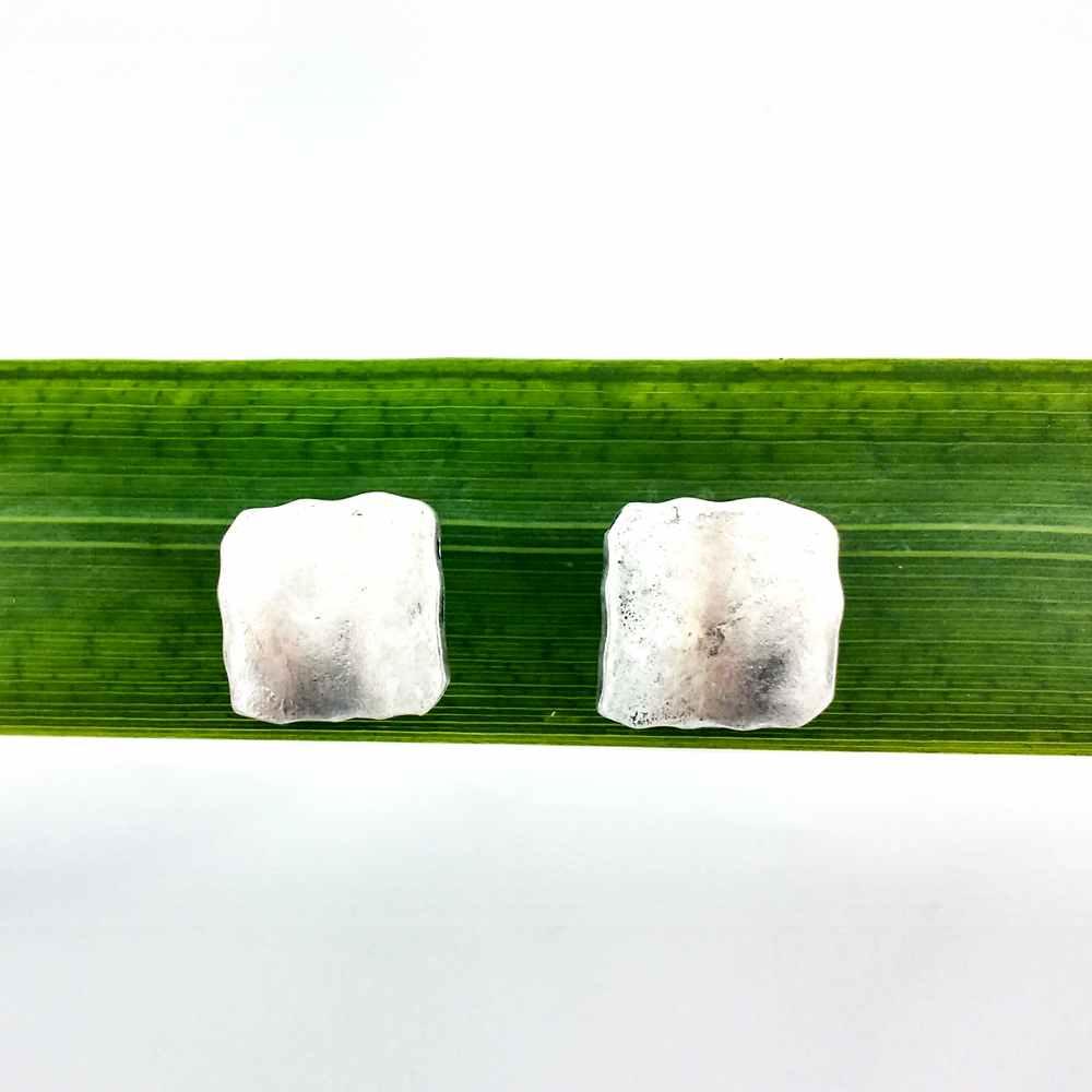 oorbellen steker ambachtelijk vierkant zilver