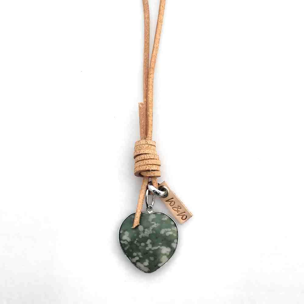 ketting leer lang hart groen edelsteen zilver
