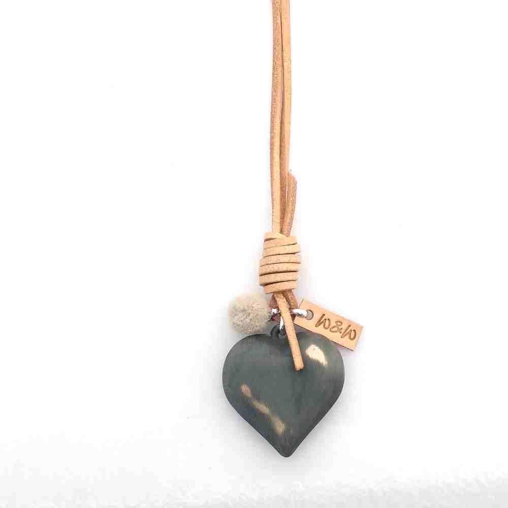 ketting lang hart leer groen naturel zilver
