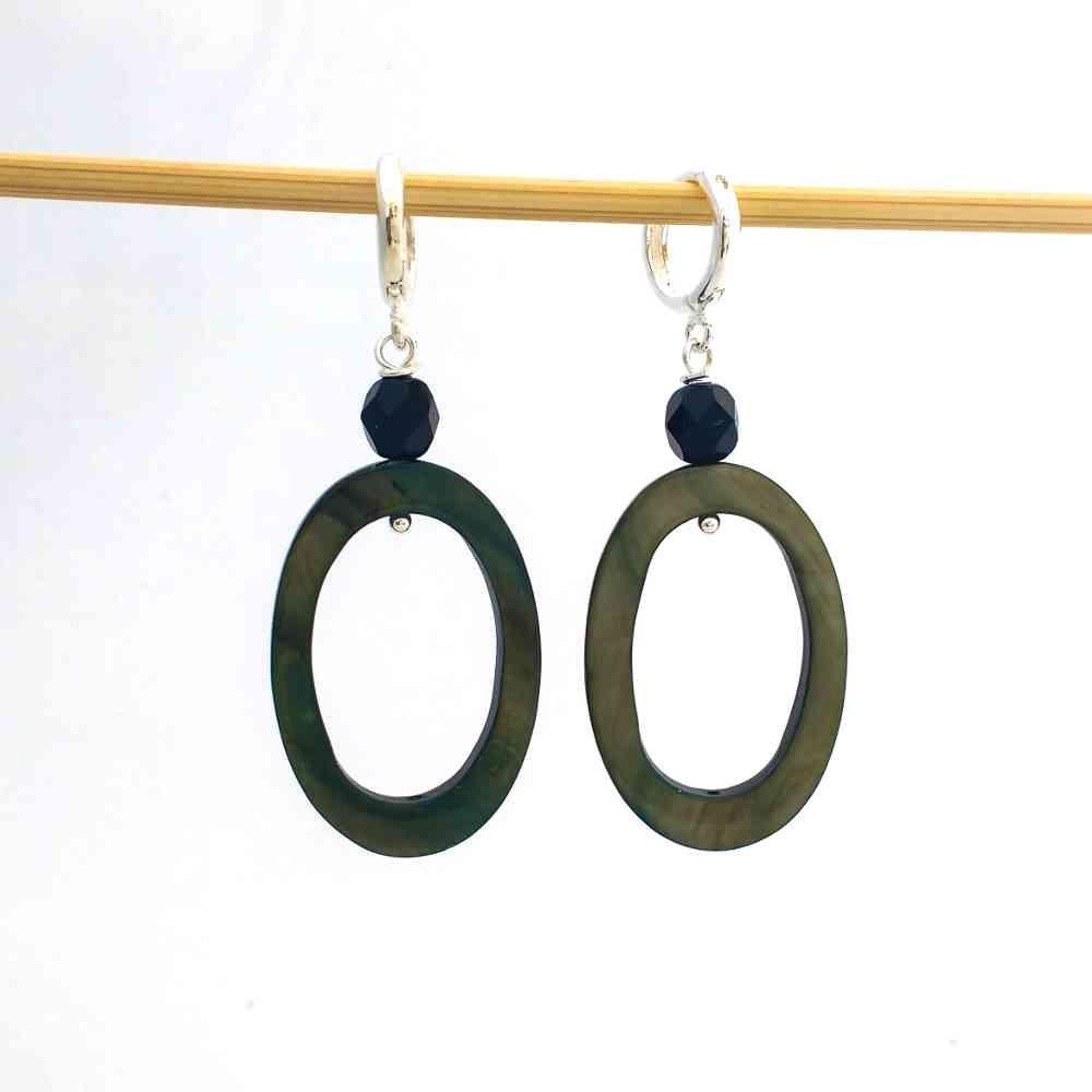 oorbellen hangers groen ovaal