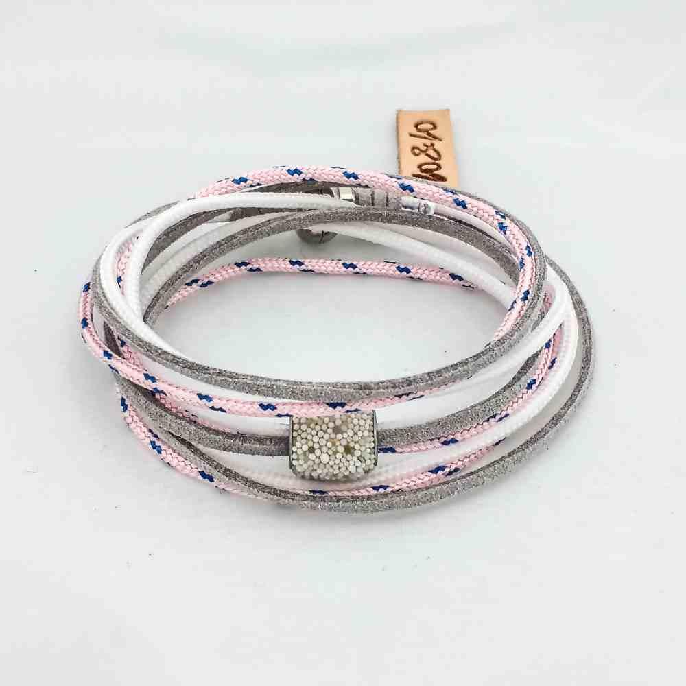 armband wikkel leer paracoord grijs roze magneet