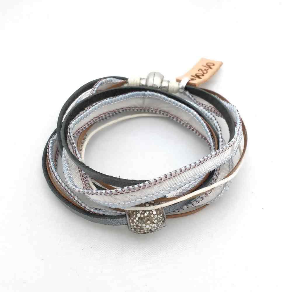 armband leer zijde wikkel magneet lint