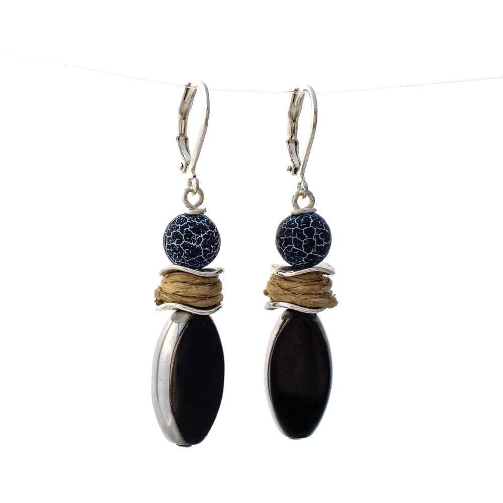 oorbellen hangers zilver zwart natuursteen