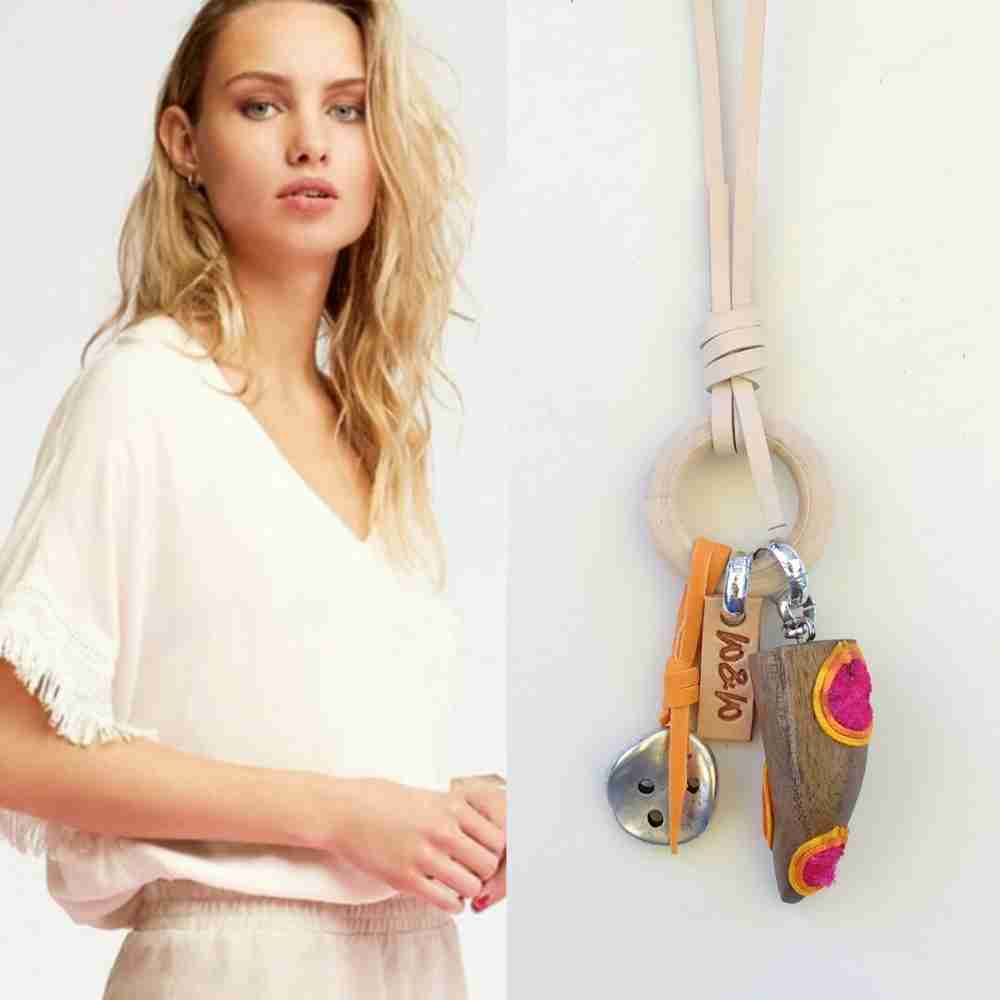 ketting leer zomers hout neon