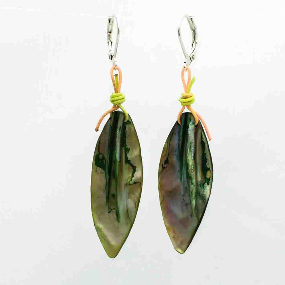 oorbellen hangers zilver groen schelp