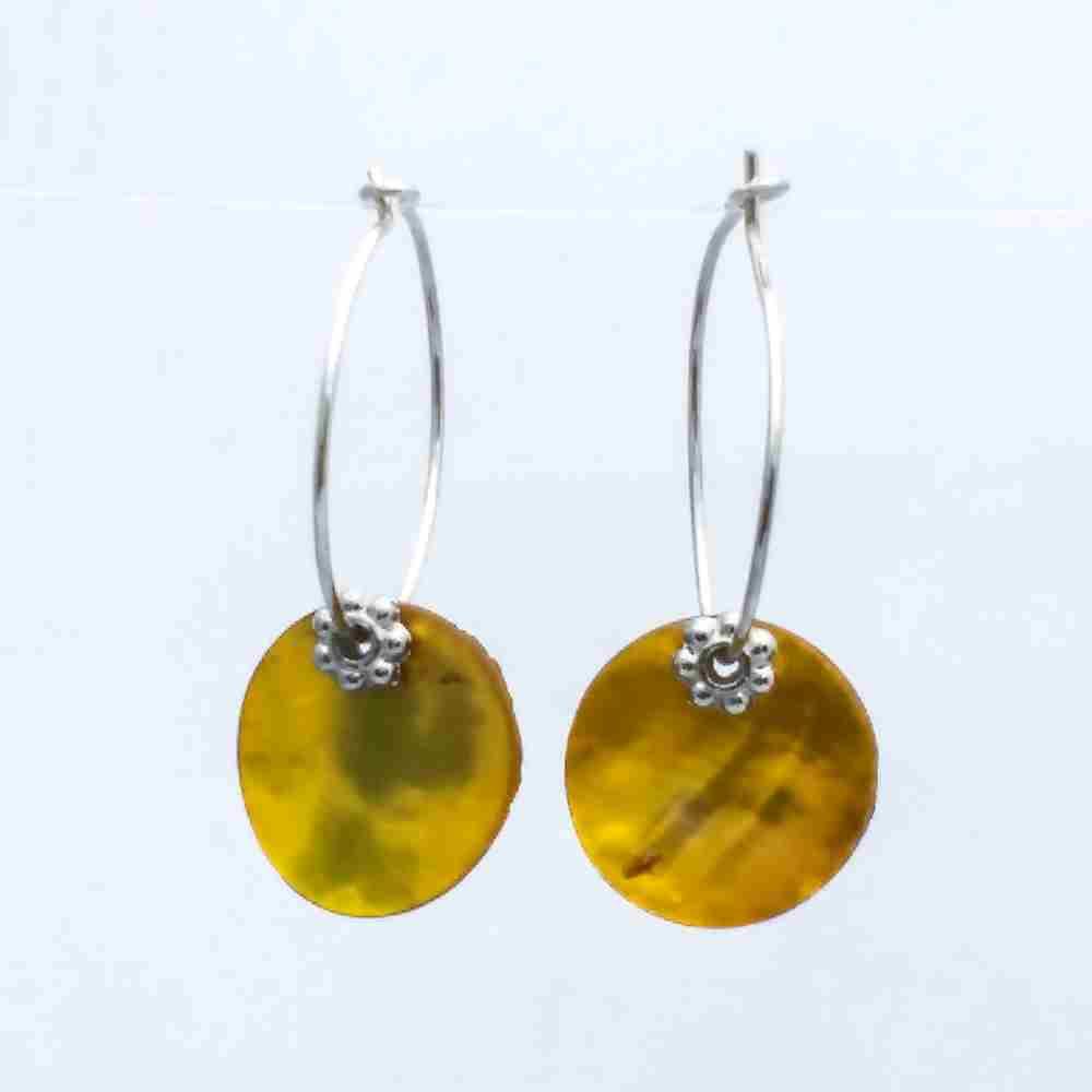 oorbellen creolen geel parelmoer zilver