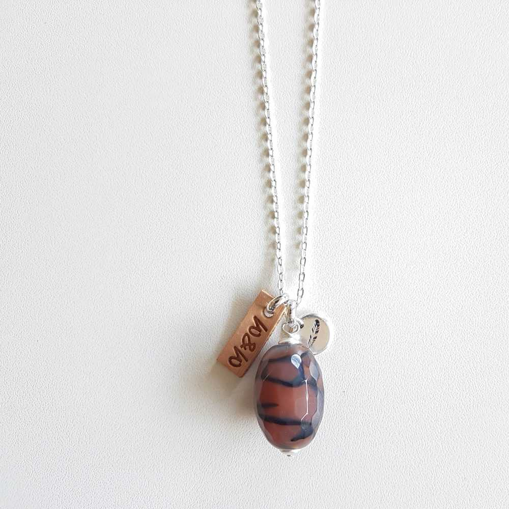 ketting-zilver-slangenhuid-agaat-bruin-zwart