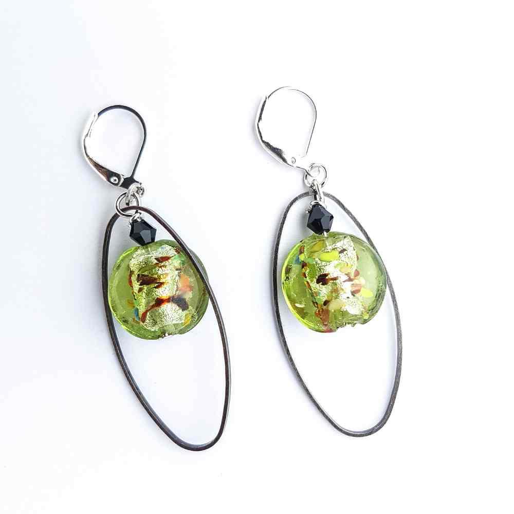 oorbellen hangers ovaal groen