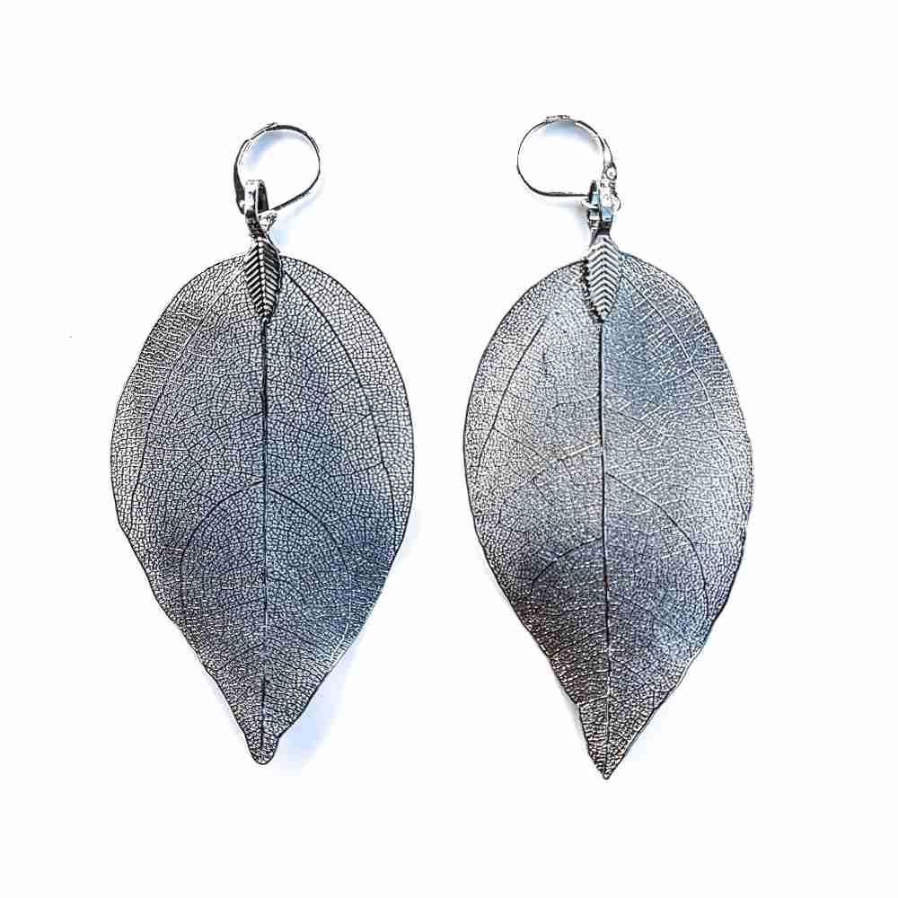 oorbellen blad nerf zilver