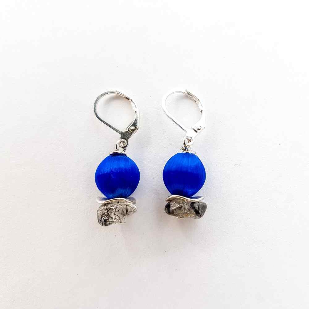 oorbellen hangers french kobalt