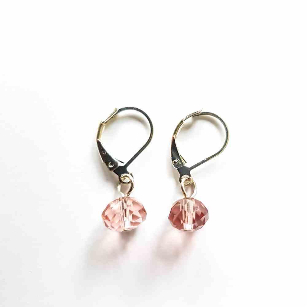 oorbellen bolletje kristal roze