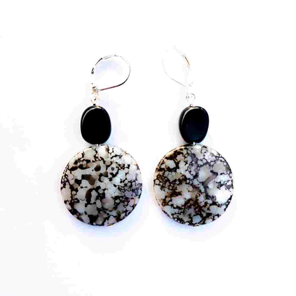 oorbellen jaspis zwart wit zilver