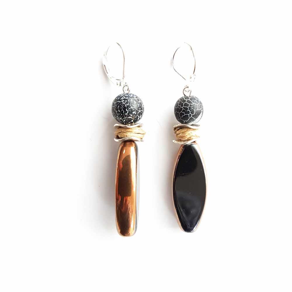 oorbellen zwart zilver edelsteen