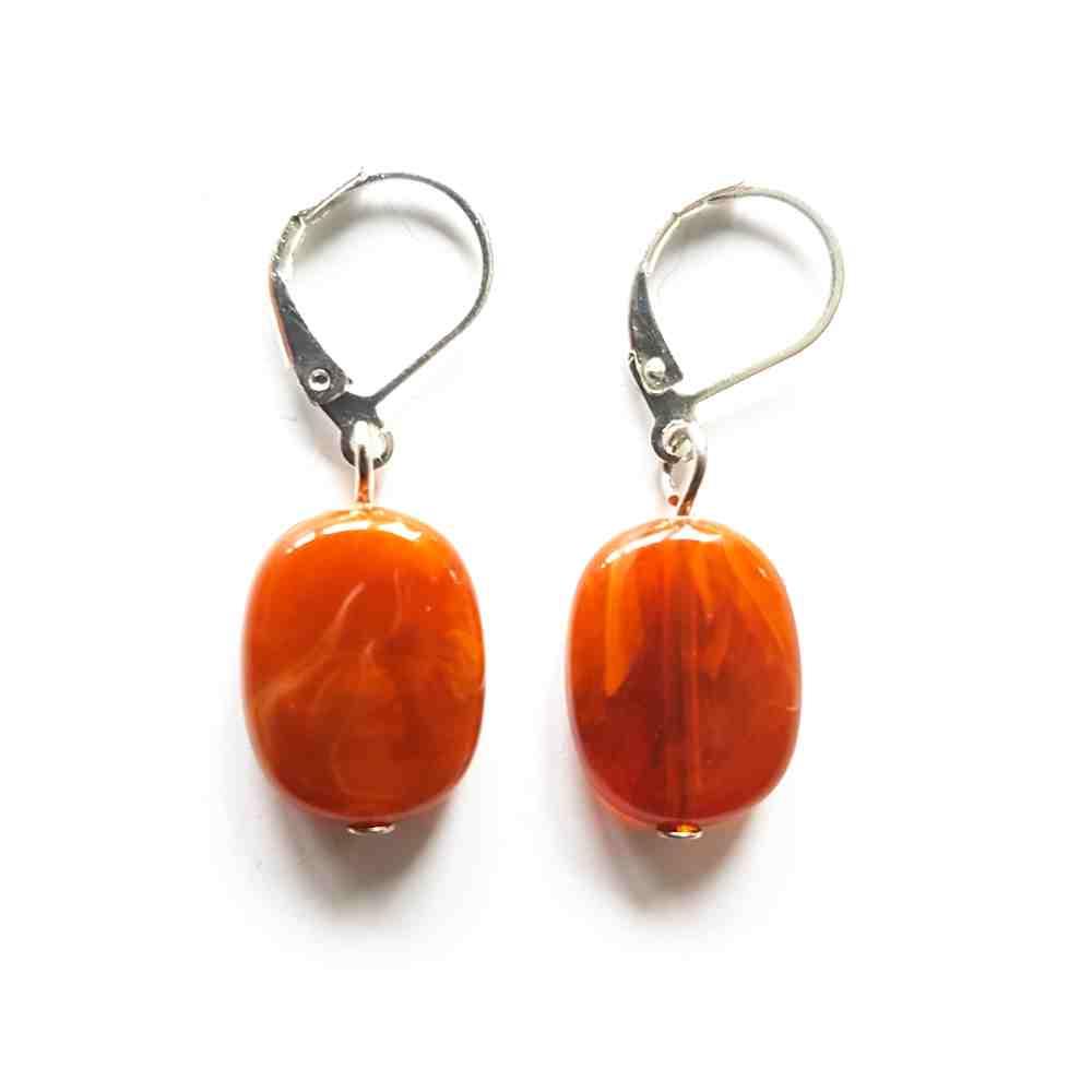 oorbellen oranje bruin zilver