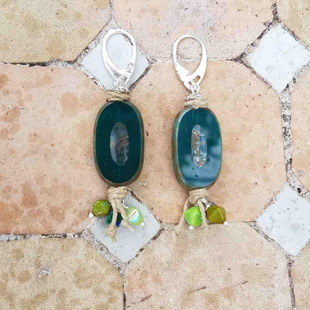 oorbellen groen groot ovaal