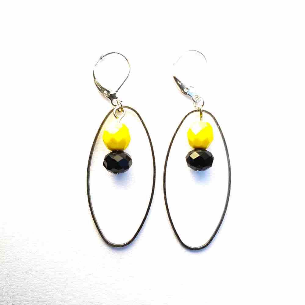 oorbellen ovaal zwart geel handgemaakt