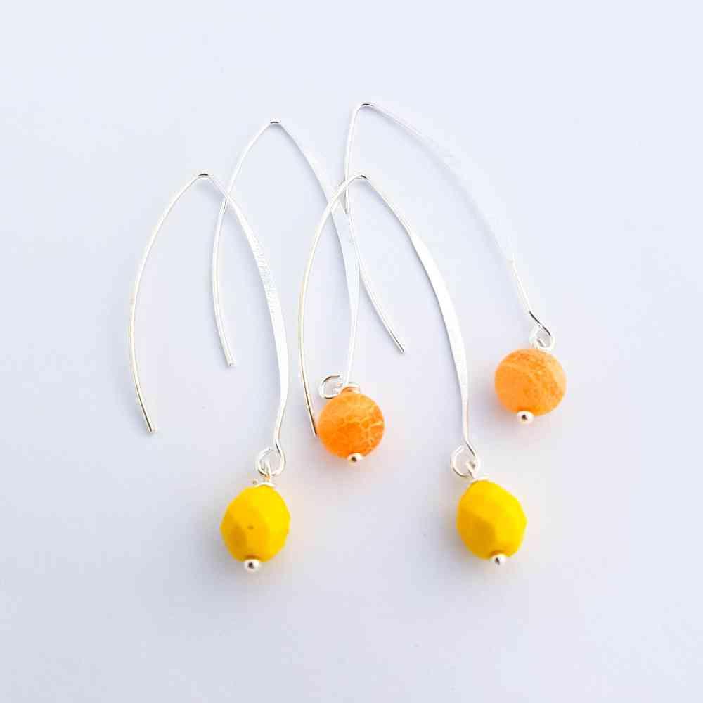 oorbellen zilver oranje geel