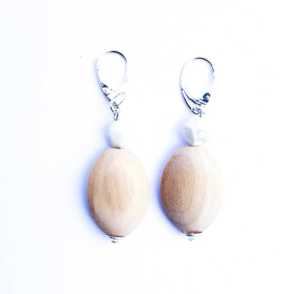 oorbellen natuurtinten hout wit