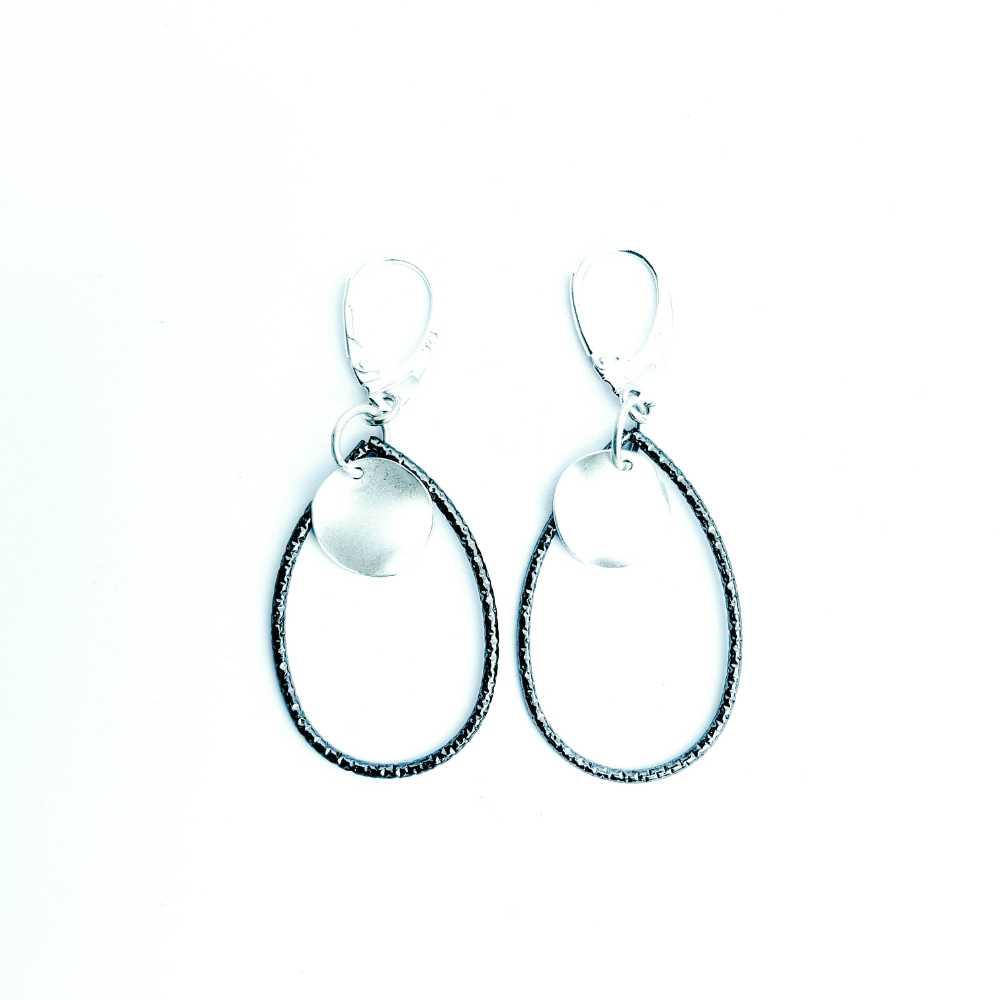 oorbellen druppels zwart zilver