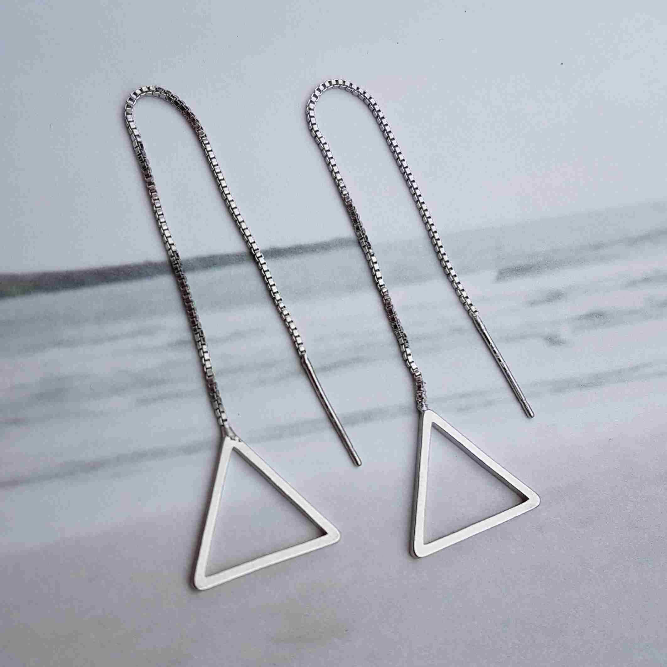 oorbellen chain zilver driehoekjes