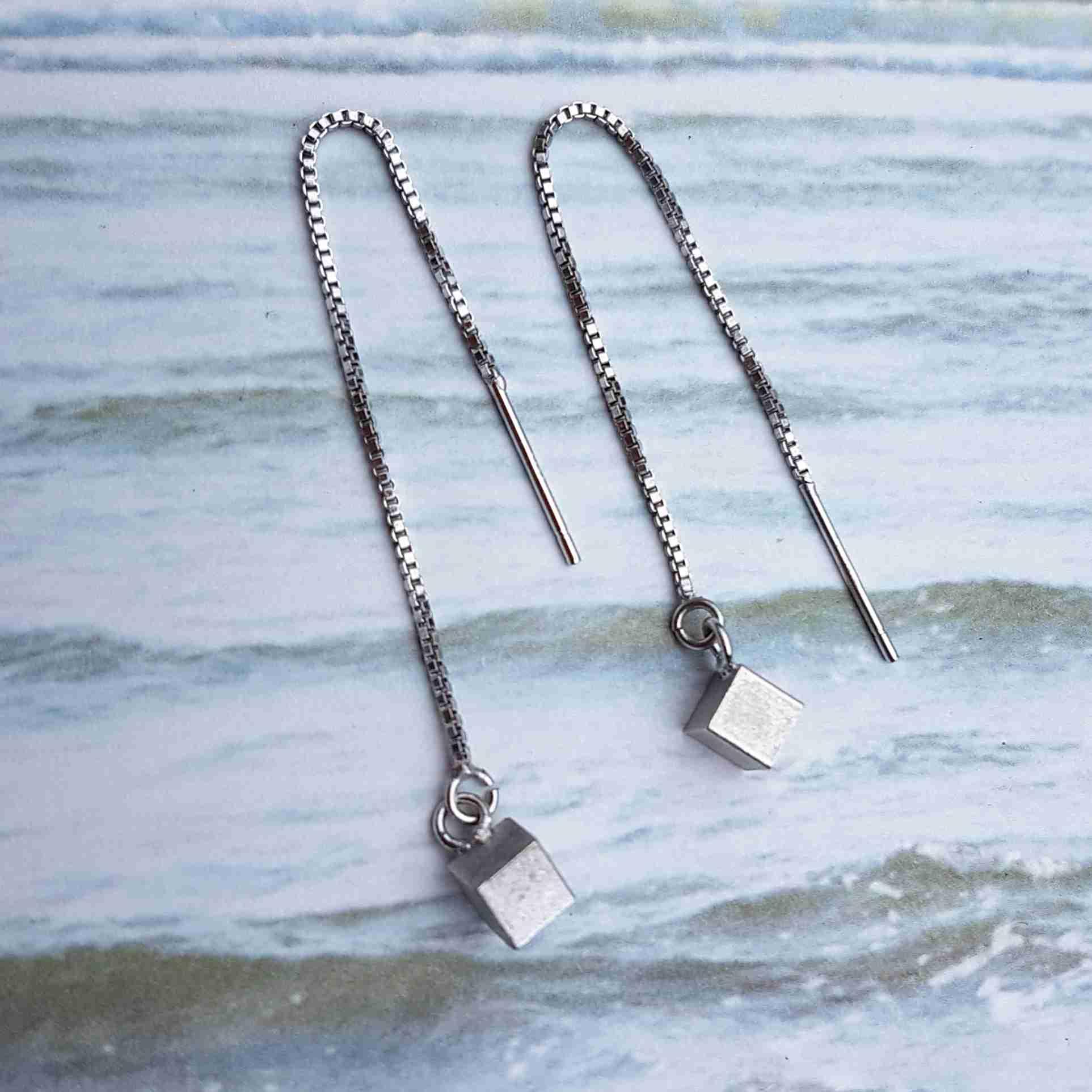 oorbellen zilver kubus ketting