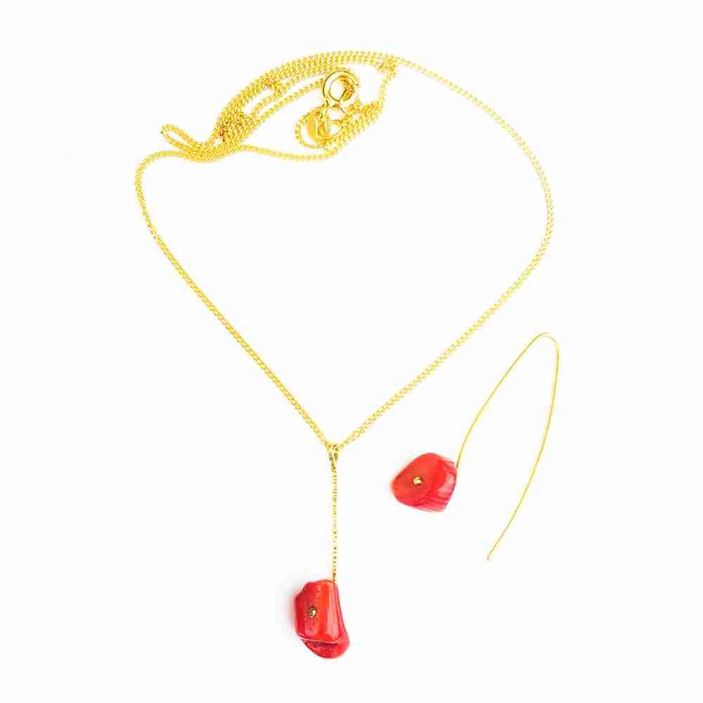 oorbellen goud bloedkoraal rood