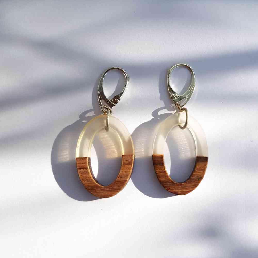 oorbellen transparant epoxy hout