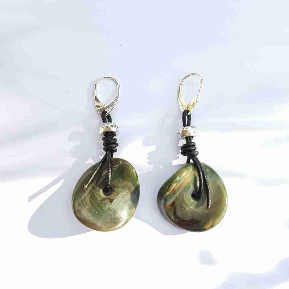 oorbellen groen zwart zilver