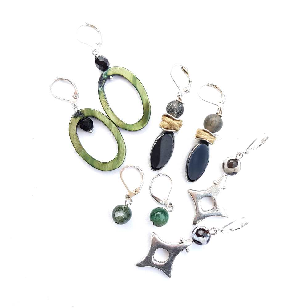 oorbellen hangers zilver zwart