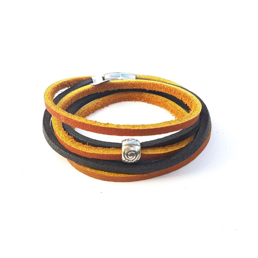 armband-leder-zwart-bruin