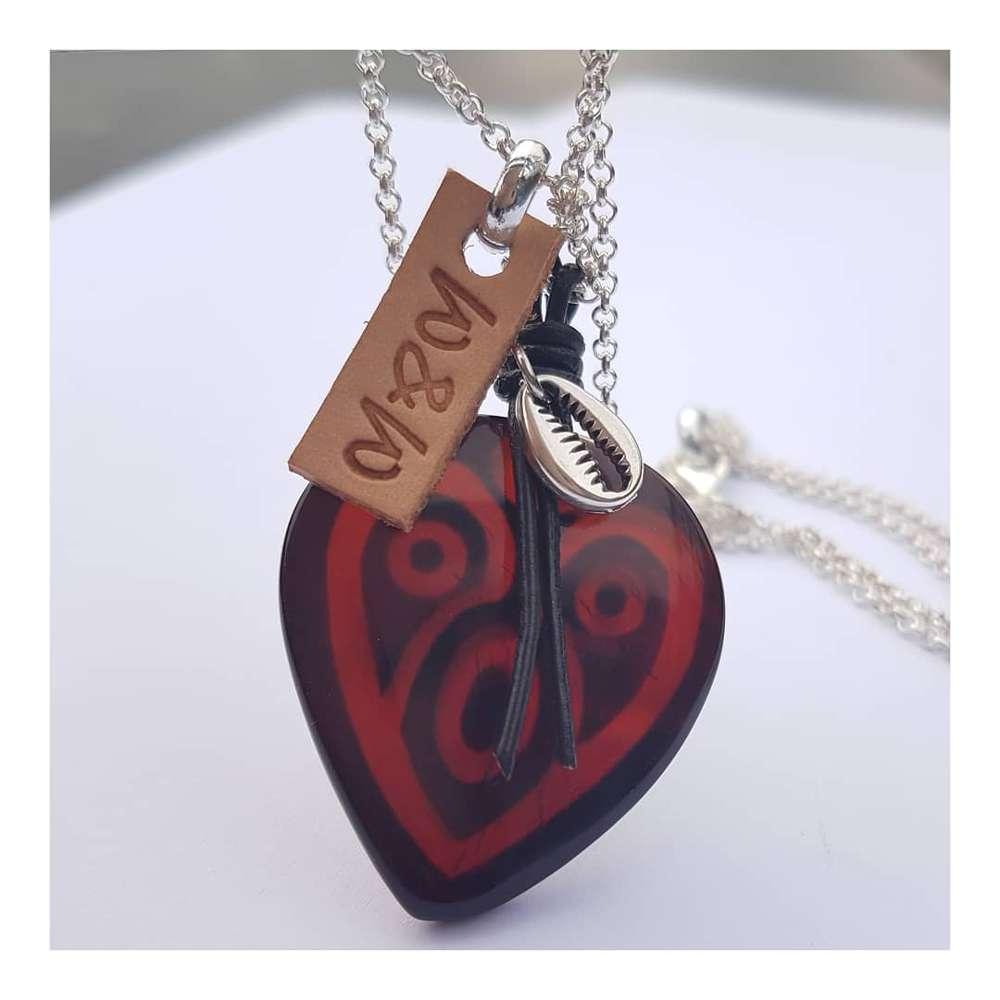 ketting hart jade zwart rood