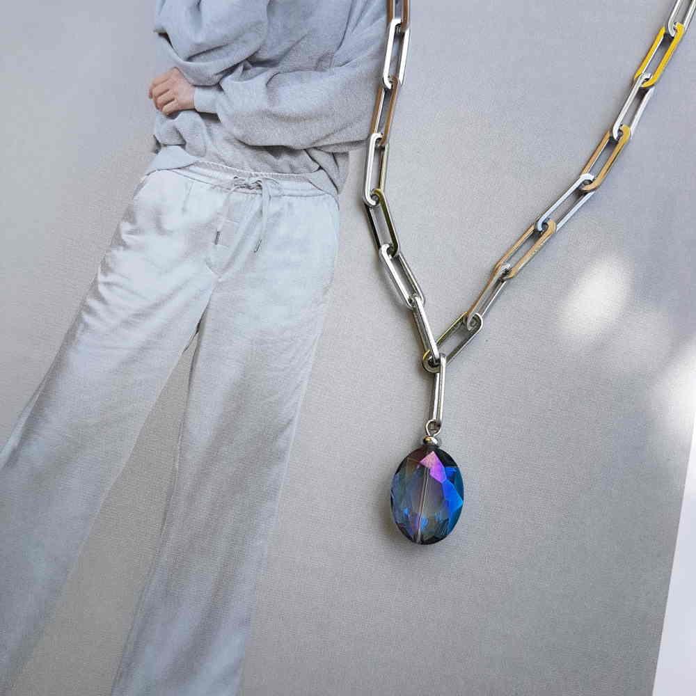 ketting zilver schakels blauw